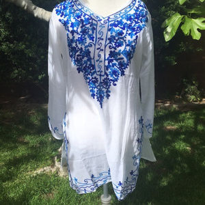Embroidered Bohemian Tunic Coverup NWT